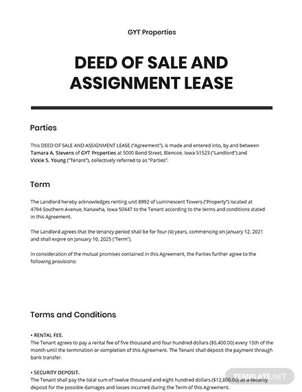 Deed of Sale and Assignment Lease Template