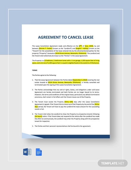 Agreement to Cancel Lease Template