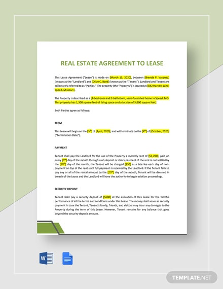 Agreement to Lease Template