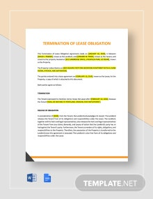 Termination of Lease Obligation Template