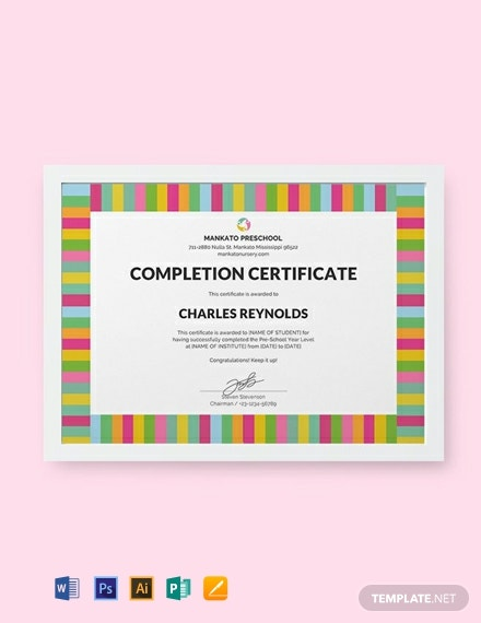 Free Preschool Completion Certificate Template