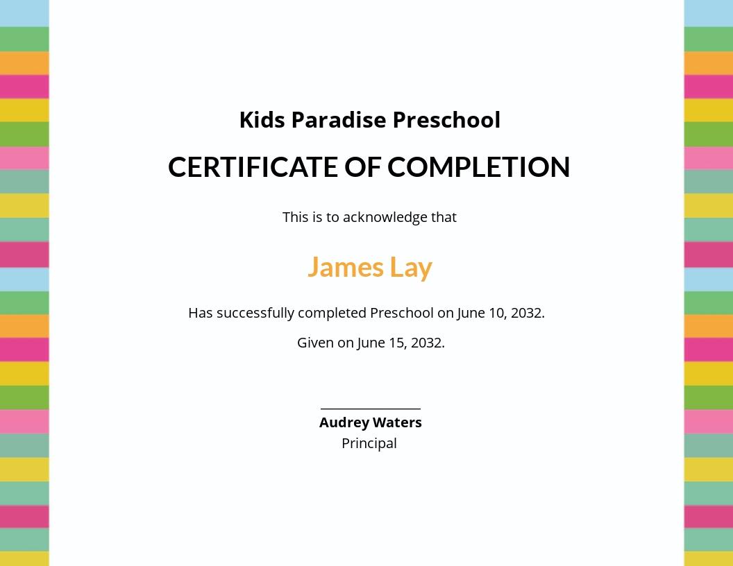 Preschool Completion Certificate Template