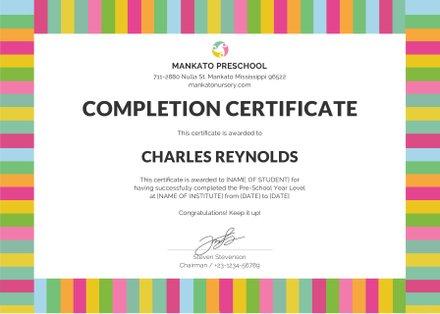Free Preschool Completion Certificate Template