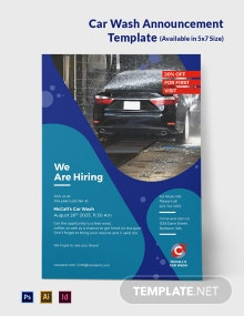 Free Car Wash Announcement Template