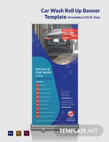 Car Wash Roll Up Banner Template