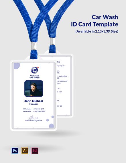 Car Wash ID Card Template