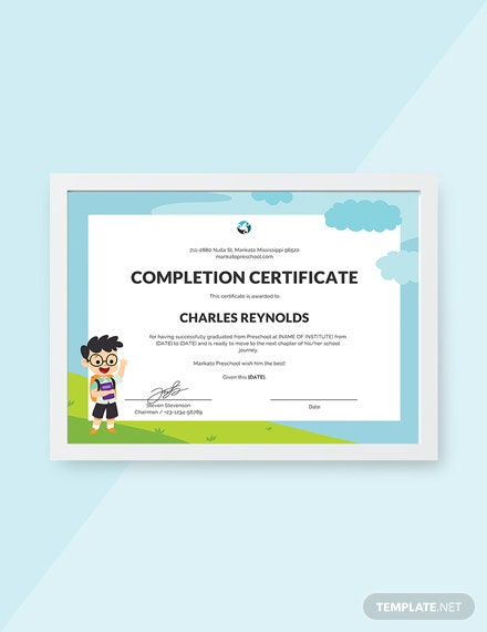 Free Preschool Leaving Certificate Template