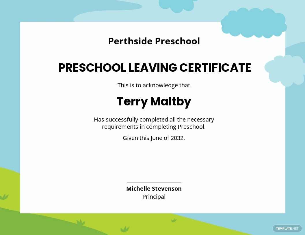 Preschool Leaving Certificate Template