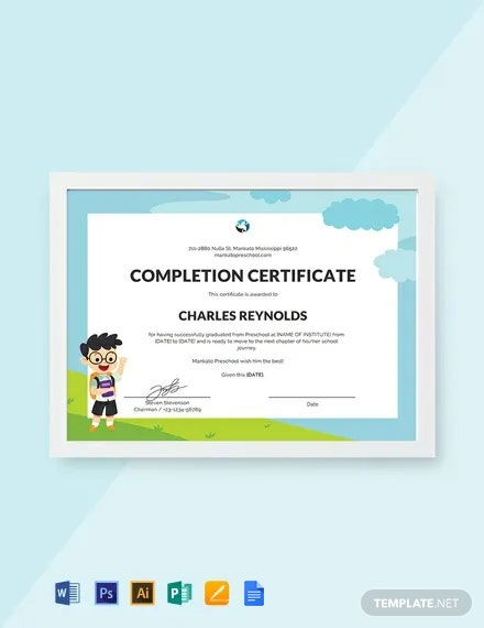 Free Preschool Leaving Certificate Template
