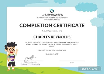 Free Preschool Leaving Certificate Template In Microsoft Word