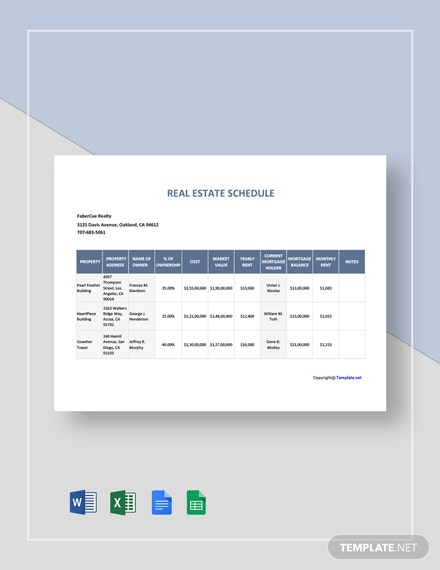 Free Sample Real Estate Schedule Template