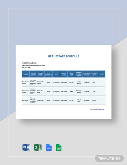 Free Simple Real Estate Schedule Template