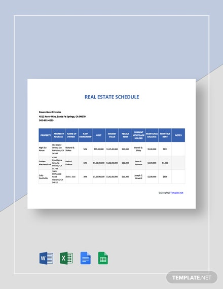 Free Blank Real Estate Schedule Template