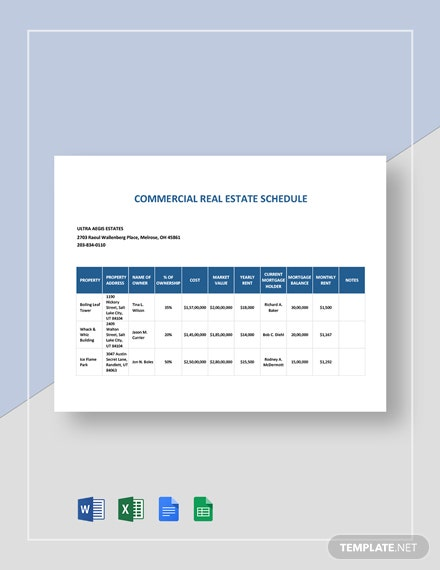 Commercial Real Estate Schedule
