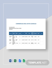 Commercial Real Estate Schedule Template
