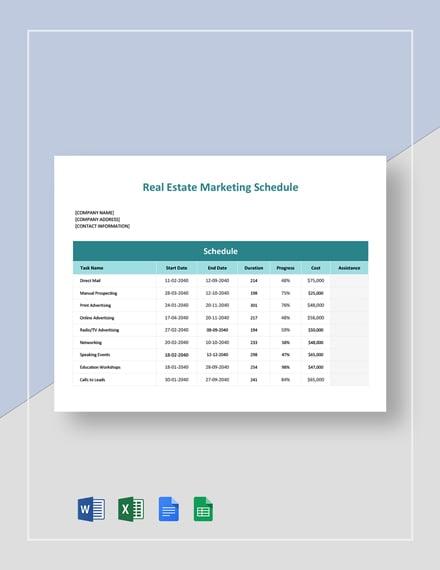 Real Estate Marketing Schedule