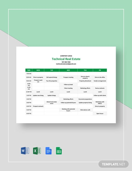 Real Estate Agent Schedule Template