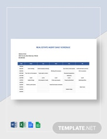 Real Estate Agent Daily Schedule Template