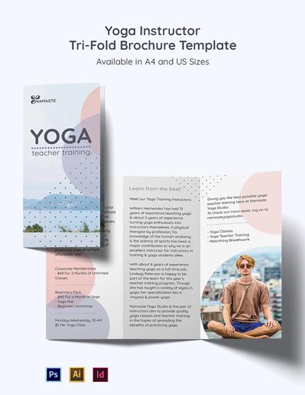 Yoga Instructor & Studio Tri-Fold Brochure Template