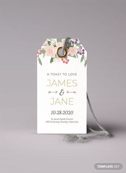 Floral Wedding Tag Template