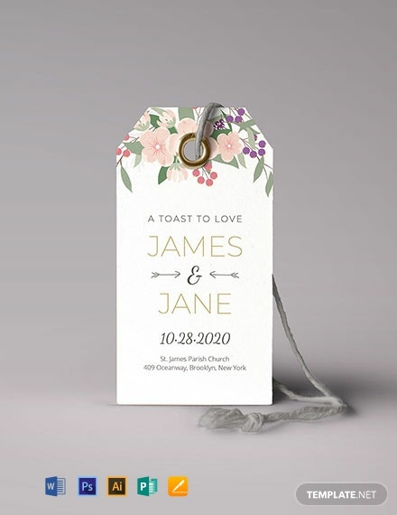 Free Floral Wedding Tag Template