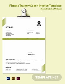 Fitness Trainer/Coach Invoice Template