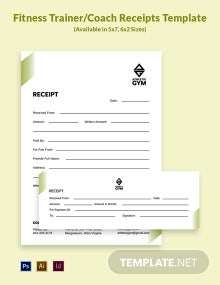 Fitness Trainer/Coach Receipt Template