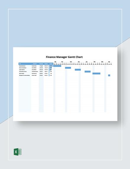 Finance Manager Gantt Chart Template