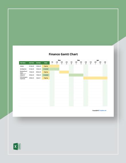 Free Simple Finance Gantt Chart Template