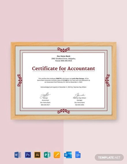 Free Salary Certificate for Accountant Template