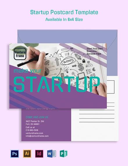 Startup Postcard Template - Word | PSD | InDesign | Apple ...