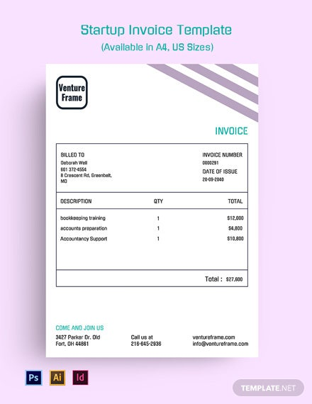 Free Startup Invoice Template