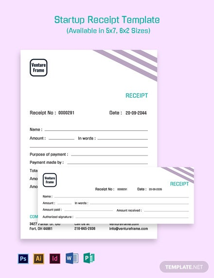Startup Receipt Template [Free PDF] - Word | Excel | Google Docs | Google Sheets | PSD ...