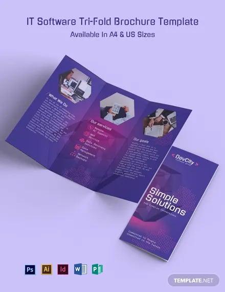 IT Software Tri-Fold Brochure Template