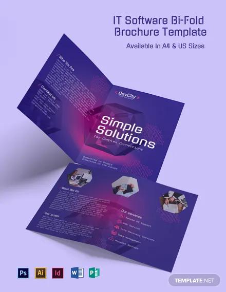 IT Software Bi-Fold Brochure Template