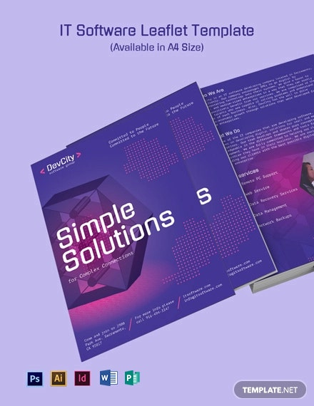 It Software Leaflet Template Word Psd Indesign Apple Mac Pages Publisher Illustrator Template Net