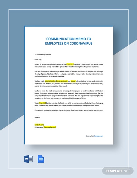 Communication Memo to Employees on Coronavirus Template