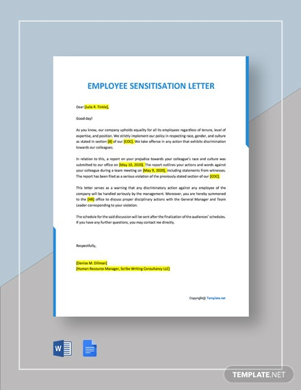 Free Employee Sensitisation Letter