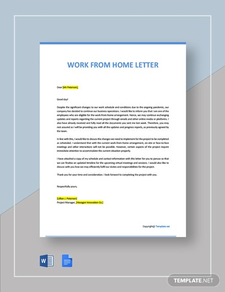 Free Work From Home Letter Template