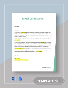 Layoff Template Letter due to Coronavirus Template