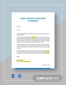 Letter to Client for Delay in Delivery of Product Due to COVID 19