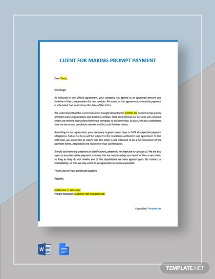 Letter to Client for Making Prompt Payment