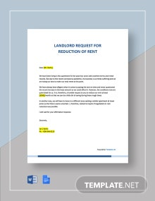 Letter to Landlord Request for Reduction of Rent