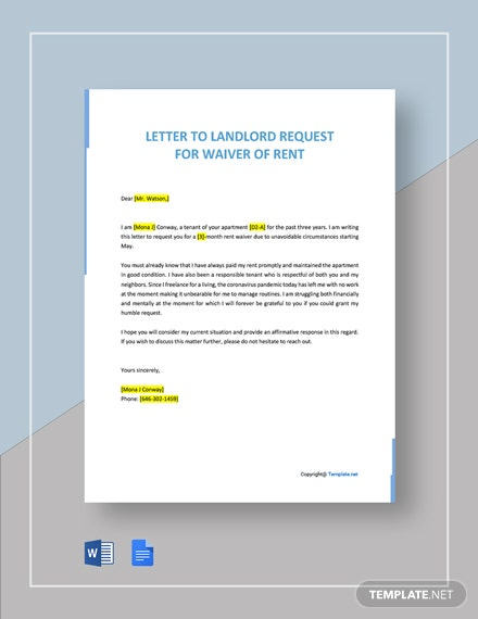 Letter to Landlord Request for Waiver of Rent