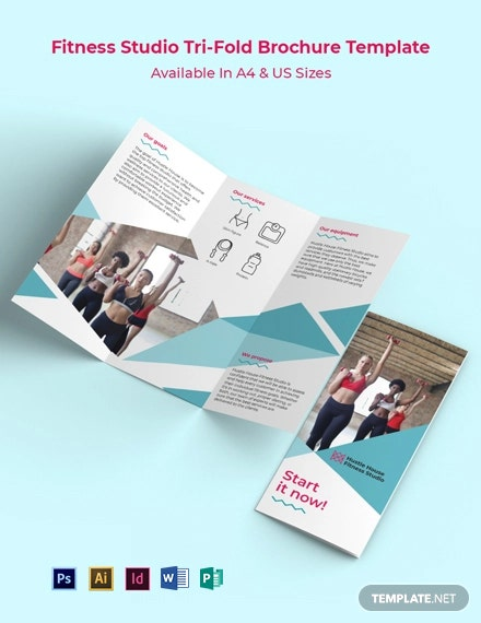 Fitness Studio Tri-Fold Brochure Template