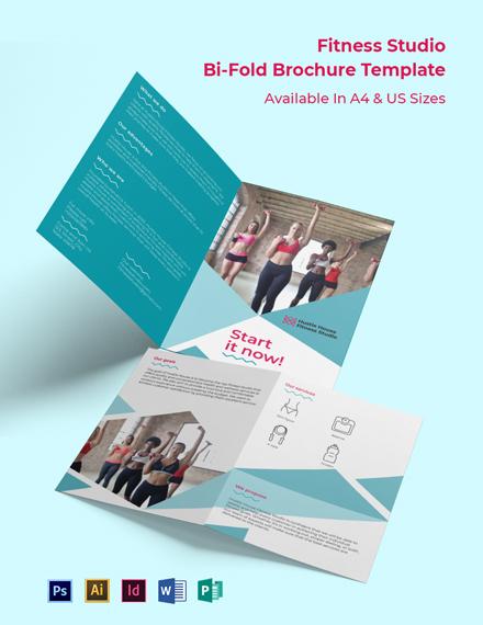 Fitness Studio Bi-Fold Brochure Template