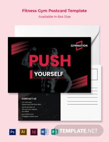 Free Fitness Gym Postcard Template