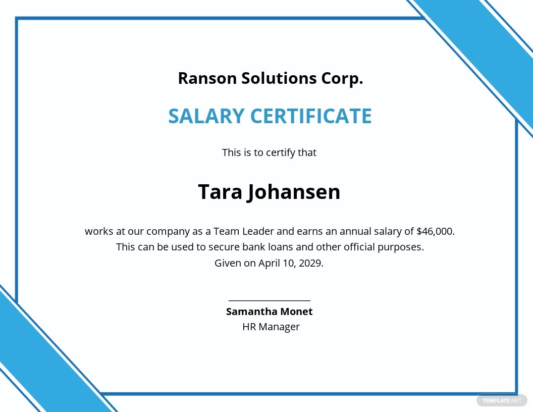 Salary Certificate for Bank Template
