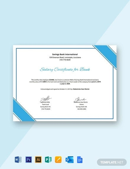 Free Salary Certificate for Bank Template