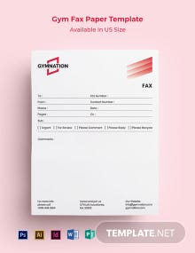 Gym Fax Paper Template